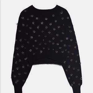 Zara Black Lightweight sweater with metal accents